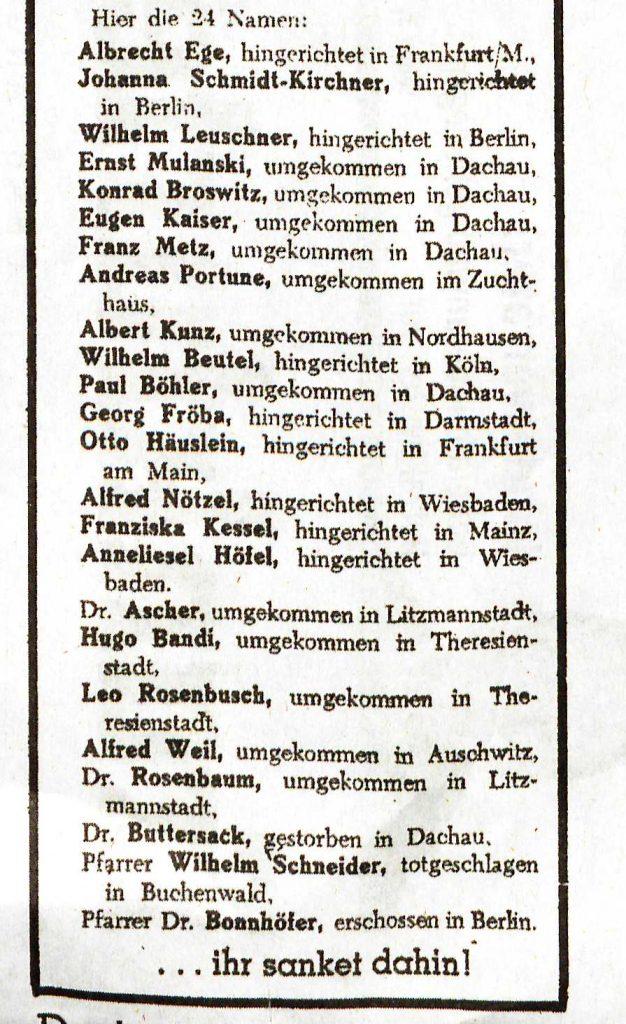 Liste von 24 NS Opfern