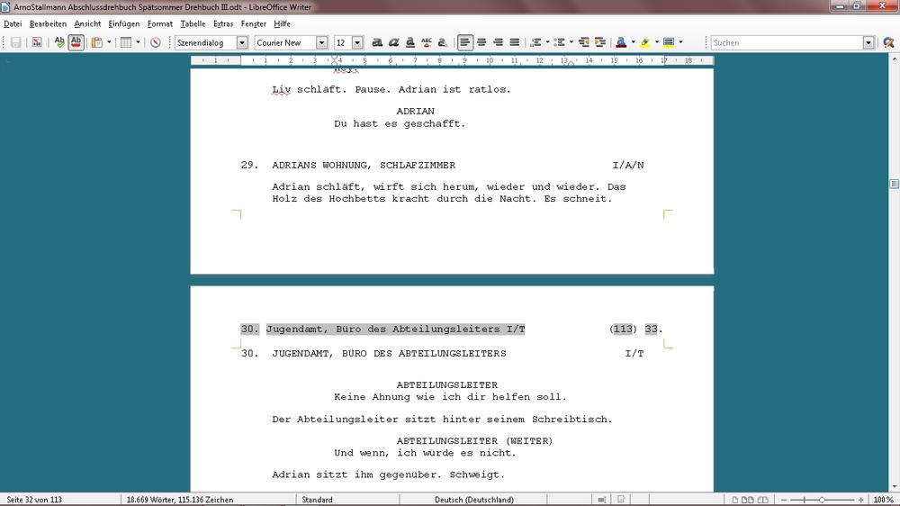 Drehbuchschreiben mit einem Textverarbeitungs-Programm — filmschreiben